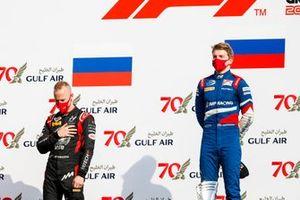 Nikita Mazepin, Hitech Grand Prix and Race Winner Robert Shwartzman, Prema Racing on the podium