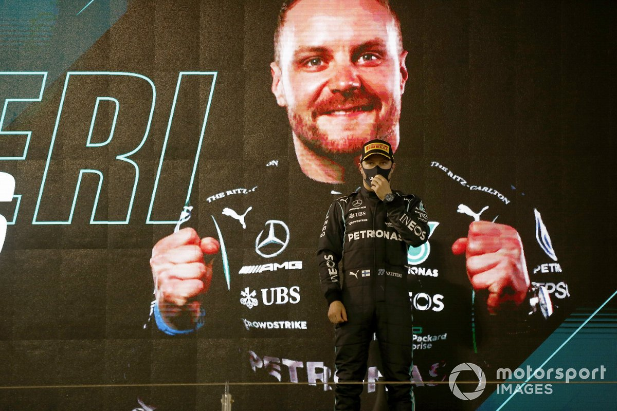 Valtteri Bottas, Mercedes W12 3°posto, sul podio