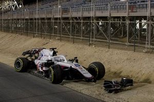 The damaged car of Nikita Mazepin, Haas VF-21
