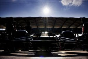Car of Valtteri Bottas, Mercedes F1 W11 in the pit lane