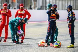 Sebastian Vettel, Aston Martin, Max Verstappen, Red Bull Racing, and Sergio Perez, Red Bull Racing