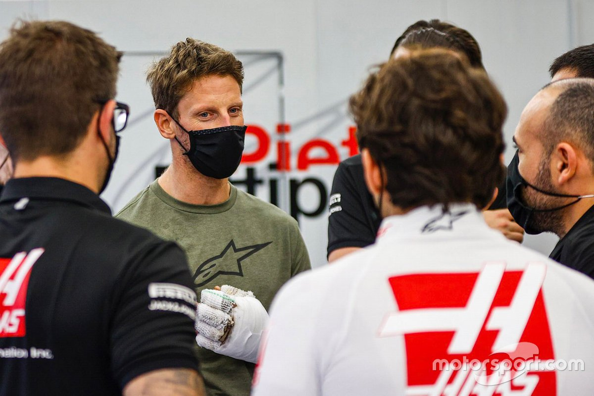 Romain Grosjean, Haas F1 torna in garage dopo il suo incidente