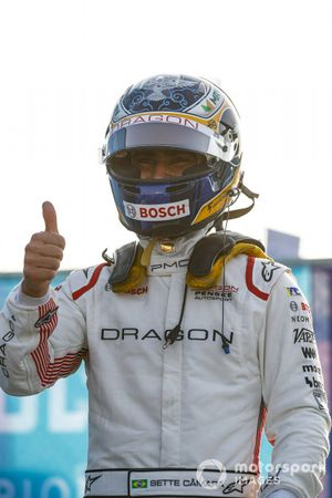 Sergio Sette Camara, Dragon Penske Autosport celebrates qualifying in 2nd position,