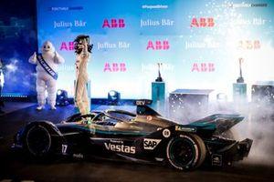 Race winner Nyck de Vries, Mercedes Benz EQ celebrates in Parc Ferme