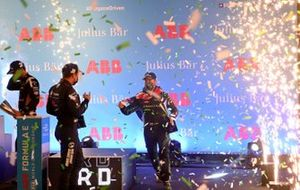 Robin Frijns, Envision Virgin Racing, 2nd position, and Sam Bird, Panasonic Jaguar Racing, 1st position, celebrate on the podium