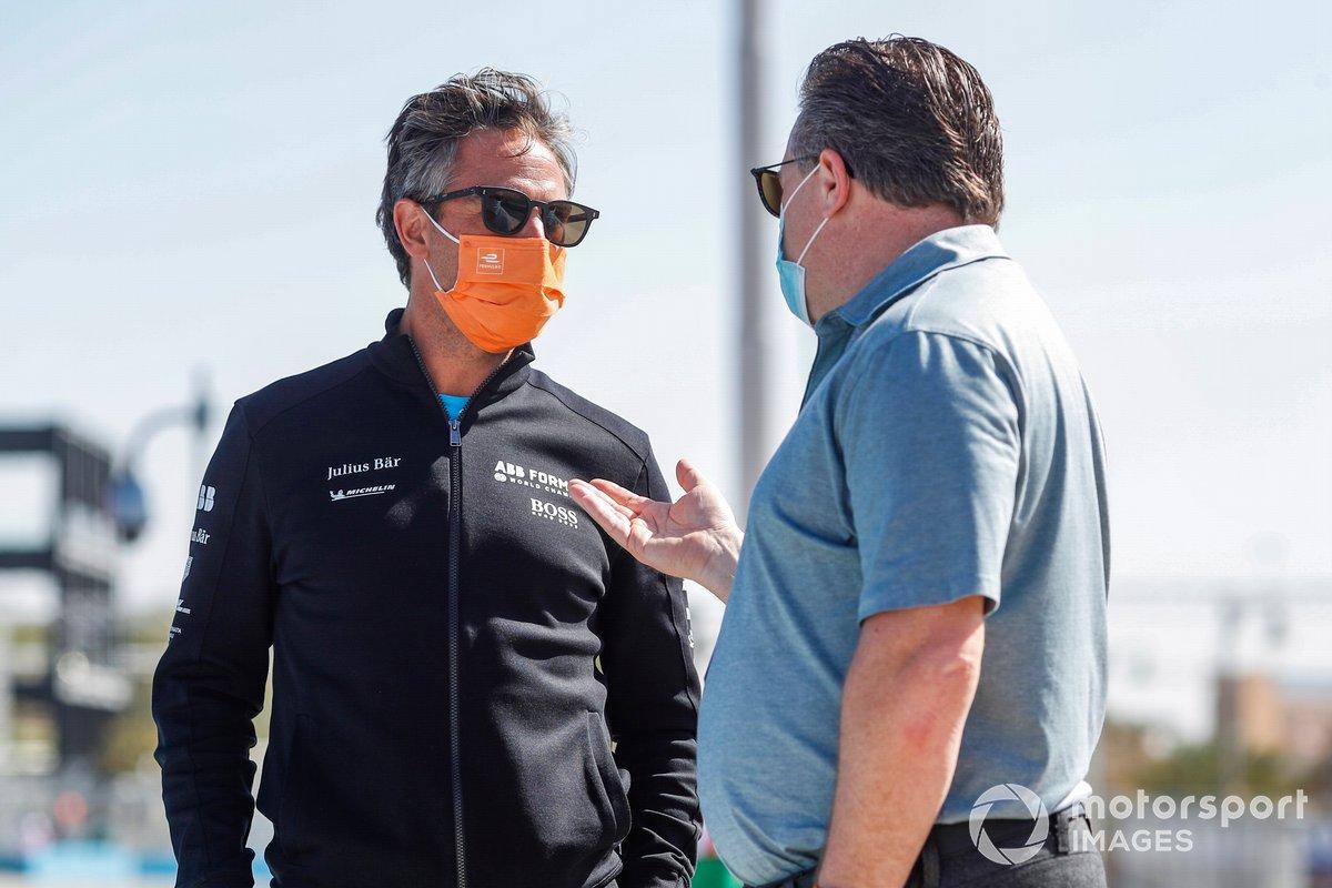 Jamie Reigle, CEO of Formula E, with Zak Brown, McLaren
