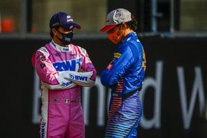 Sergio Perez, Racing Point, and Lando Norris, McLaren