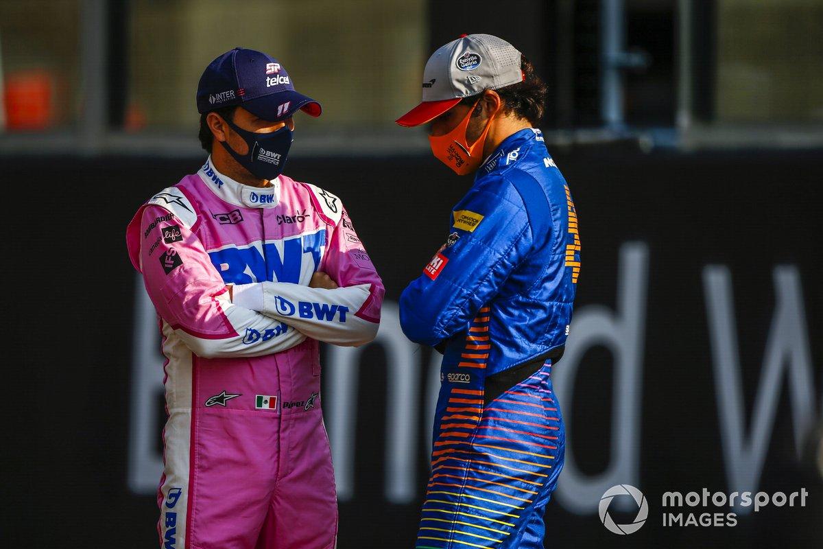 Sergio Perez, Racing Point, e Lando Norris, McLaren