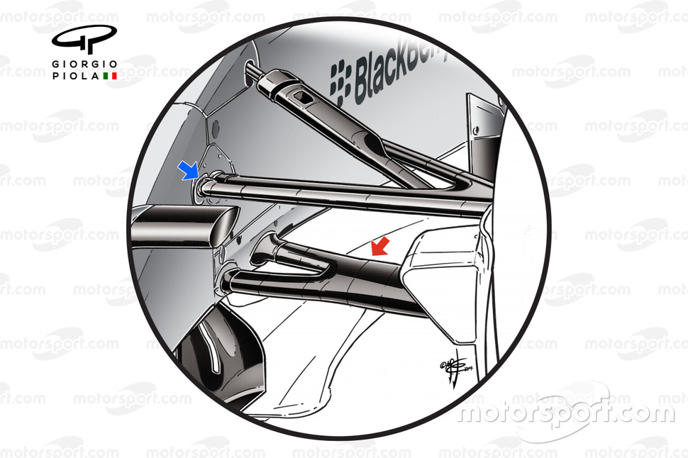 Mercedes W05 front suspension detail