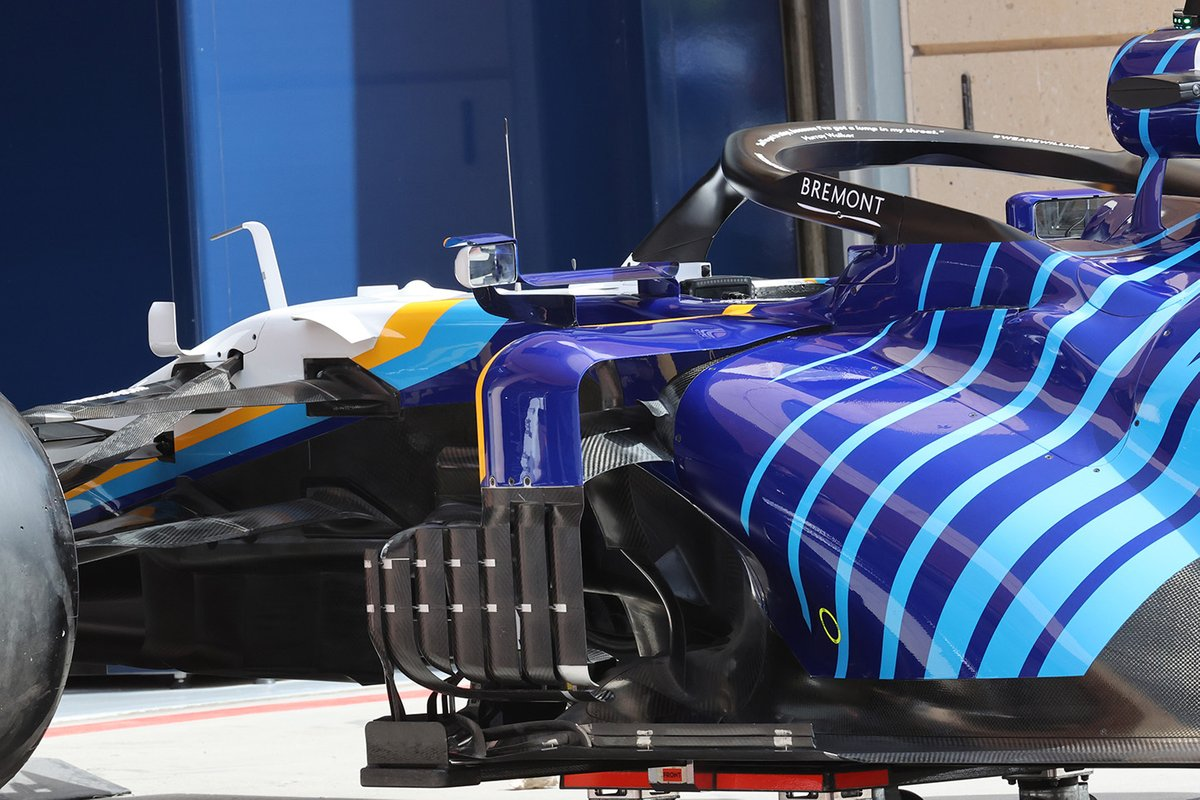 Detalle de los sidepods del Williams FW43B