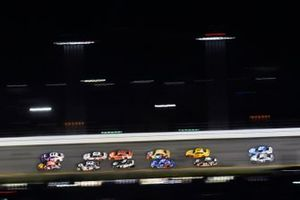 Austin Dillon, Richard Childress Racing, Chevrolet Camaro and Denny Hamlin, Joe Gibbs Racing, Toyota Camry FedEx