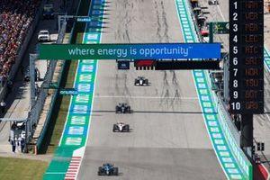 Fernando Alonso, Alpine A521, Mick Schumacher, Haas VF-21, and Lance Stroll, Aston Martin AMR21