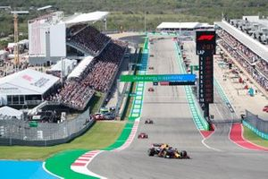Sergio Perez, Red Bull Racing RB16B, Charles Leclerc, Ferrari SF21, and Daniel Ricciardo, McLaren MCL35M