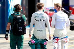 Sebastian Vettel, Aston Martin, and Mick Schumacher, Haas F1, on the grid