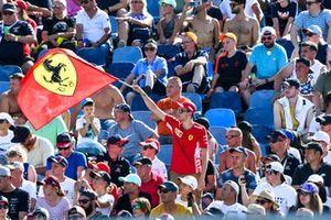 A Ferrari fan in a grandstand