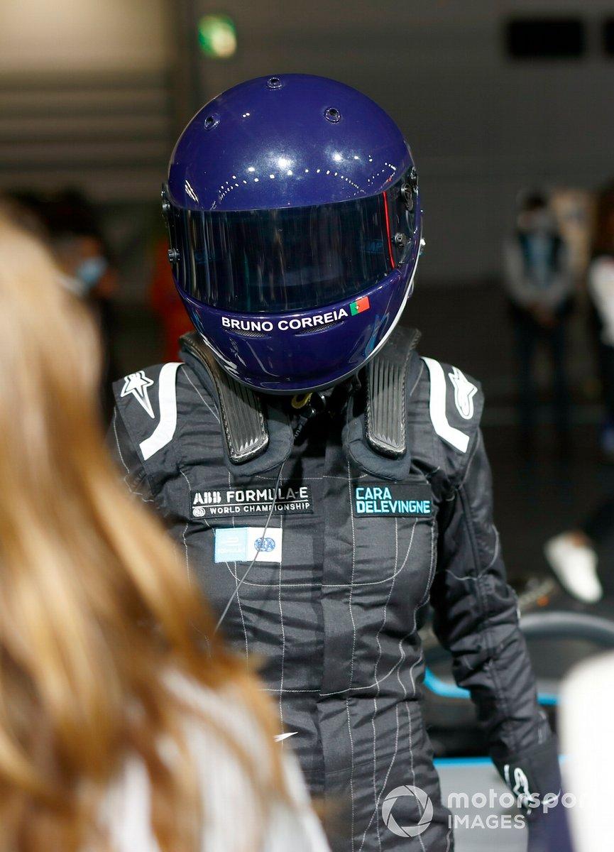 Model, Actress Cara Delevigne with the Formula E car