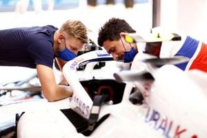 Haas F1 team engineer with Mick Schumacher