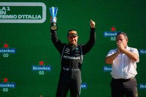 Valtteri Bottas, Mercedes, 3rd position, lifts his trophy