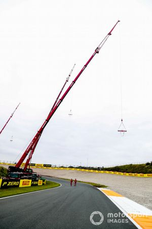 Crane over the banked section of the track
