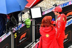 Carlos Sainz Jr., Ferrari, is interviewed