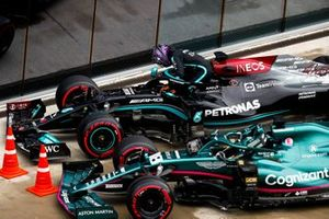 Lewis Hamilton, Mercedes, arrives in Parc Ferme after Qualifying