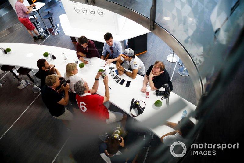 Carlos Sainz Jr., McLaren speaks to the media