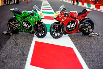 Livrea tricolore sulle moto di Luca Marini, Sky Racing Team VR46 e Nicolò Bulega, Sky Racing Team VR46