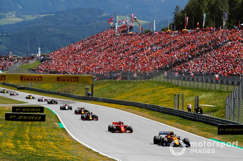 Lando Norris, McLaren MCL34, Sebastian Vettel, Ferrari SF90, Max Verstappen, Red Bull Racing RB15, Pierre Gasly, Red Bull Racing RB15