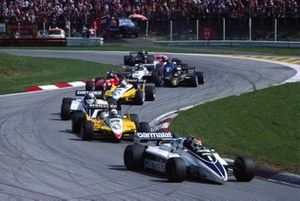 Nelson Piquet, Brabham BT50 BMW, leads Alain Prost, Renault RE30B