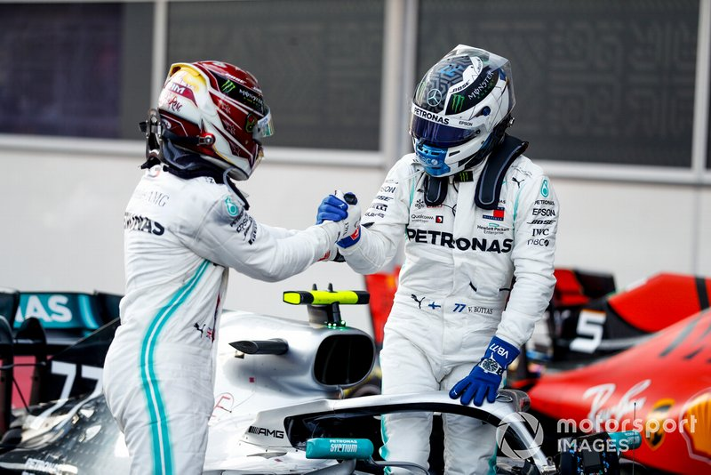 Lewis Hamilton, Mercedes AMG F1 and Valtteri Bottas, Mercedes AMG F1 celebrate in Parc Ferme