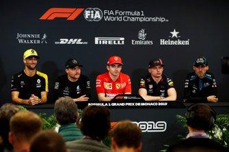 Daniel Ricciardo, Renault F1 Team, Valtteri Bottas, Mercedes AMG F1, Charles Leclerc, Ferrari, Max Verstappen, Red Bull Racing e Robert Kubica, Williams Racing alla conferenza stampa
