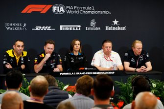 Cyril Abiteboul, Managing Director, Renault F1 Team, Christian Horner, Team Principal, Red Bull Racing, Claire Williams, Deputy Team Principal, Williams Racing, Zak Brown, Executive Director, McLaren, and Andrew Green, Technical Director, Racing Point, in the team principals Press Conference