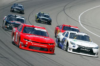 Garrett Smithley, JD Motorsports, Chevrolet Camaro Victory Lane and Chad Finchum, Motorsports Business Management, Toyota Supra MBM Motorsports