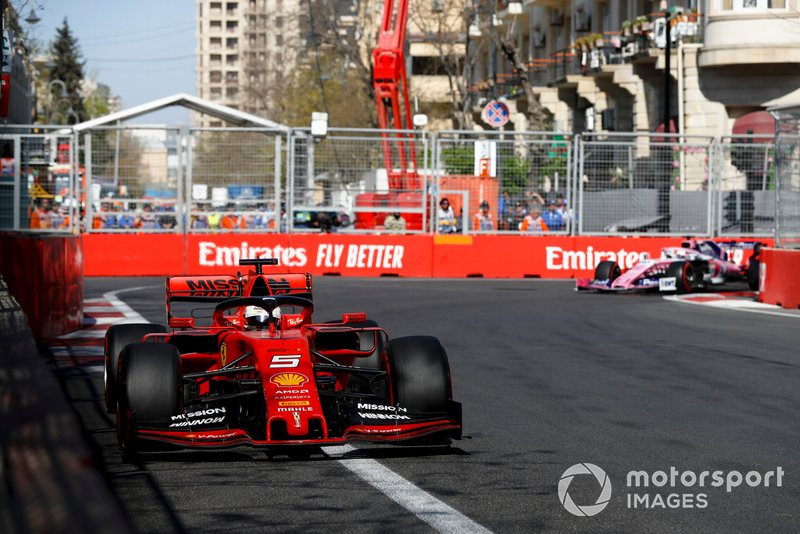 Sebastian Vettel, Ferrari SF90, Sergio Pérez, Racing Point RP19