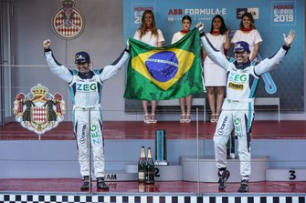 Teammates Cacá Bueno, Jaguar Brazil Racing, Sérgio Jimenez, Jaguar Brazil Racing celebrate their 1-2 on the podium
