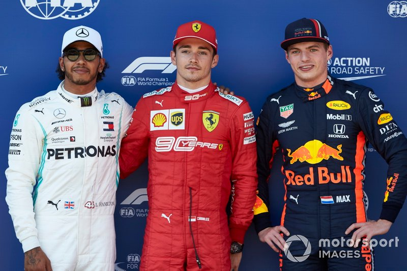 Top three Qualifiers Lewis Hamilton, Mercedes AMG F1, Pole sitter Charles Leclerc, Ferrari, and Max Verstappen, Red Bull Racing