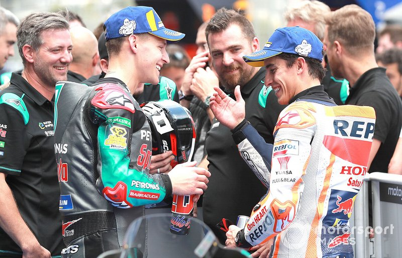 Polesitter Fabio Quartararo, Petronas Yamaha SRT, il terzo classificato Marc Marquez, Repsol Honda Team