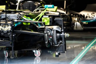 A Mercedes AMG F1 W10 with its bodywork removed