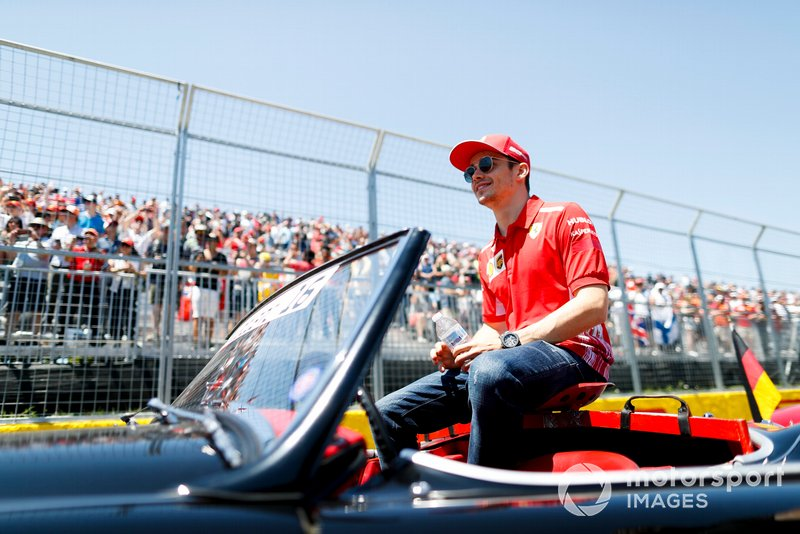 Charles Leclerc, Ferrari, in the drivers parade