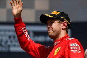Sebastian Vettel, Ferrari on the podium