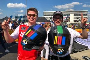 Wood Brothers Gaming Playstation 4 driver Slade Gravitt (sladeg84) and Team Penske eSports driver Brian Tedeschi (ShellVPower22) pose together after winning their respective races in the kickoff of the 2019 eNASCAR Heat Pro League season