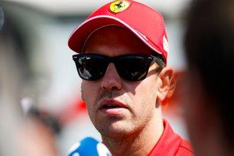 Sebastian Vettel, Ferrari speaks with the media