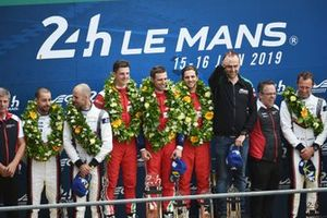 LMGTE Pro winners #51 AF Corse Ferrari 488 GTE EVO: Alessandro Pier Guidi, James Calado, Daniel Serra, second place #91 Porsche GT Team Porsche 911 RSR: Richard Lietz, Gianmaria Bruni, Frédéric Makowiecki, third place #93 Porsche GT Team Porsche 911 RSR: Patrick Pilet