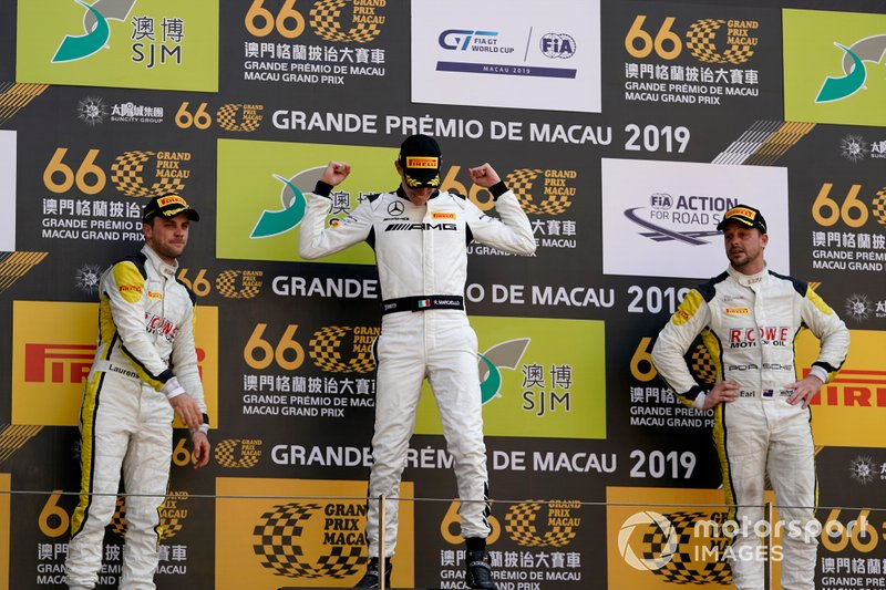 Podium: Race winner #999 Mercedes-AMG Team GruppeM Racing Mercedes AMG GT3: Raffaele Marciello, second place #99 ROWE Racing Porsche 911 GT3 R: Laurens Vanthoor, third place #98 ROWE Racing Porsche 911 GT3 R: Earl Bamber