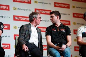 BTCC drivers Jason Plato and Dan Cammish are interviewed on the Autosport stage