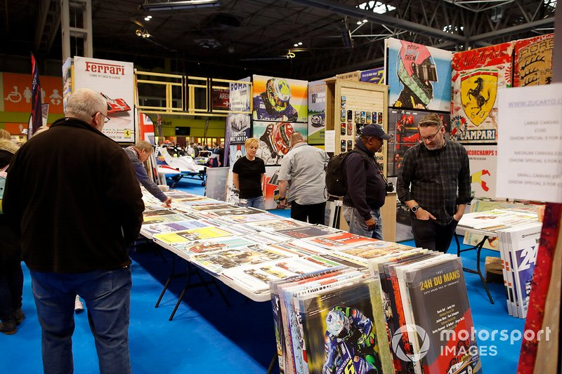 Fans shop the merchandise on sale at the Autosport show