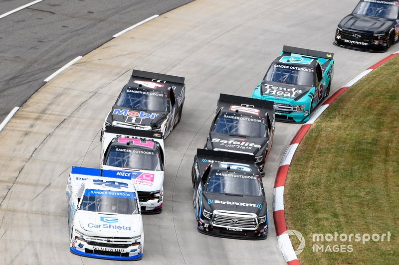 Ross Chastain, Niece Motorsports, Chevrolet Silverado CarShield, Christian Eckes, Kyle Busch Motorsports, Toyota Tundra SiriusXM, #2: Sheldon Creed, GMS Racing, Chevrolet Silverado Chevrolet Cares, Harrison Burton, Kyle Busch Motorsports, Toyota Tundra Safelite AutoGlass, Todd Gilliland, Kyle Busch Motorsports, Toyota Tundra Mobil 1, Johnny Sauter, ThorSport Racing, Ford F-150 Tenda Heal