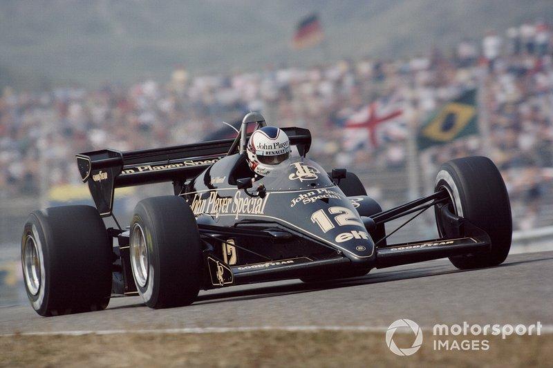 Zandvoort 1984: Nigel Mansell aan het werk in de Lotus