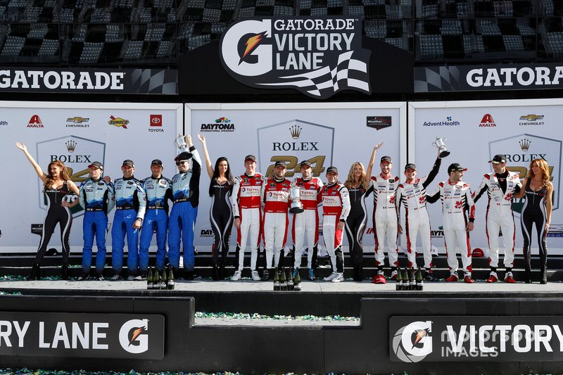 GTD Winners #44 GRT Magnus Racing Lamborghini Huracan GT3: John Potter, Andy Lally, Spencer Pumpelly, Marco Mapelli, #48 Paul Miller Racing Lamborghini Huracan GT3: Bryan Sellers, Corey Lewis, Madison Snow, Andrea Caldarelli, #88 WRT Speedstar Audi Sport Audi R8 LMS GT3: Mirko Bortolotti, Dries Vanthoor, Rolf Ineichen, Daniel Morad