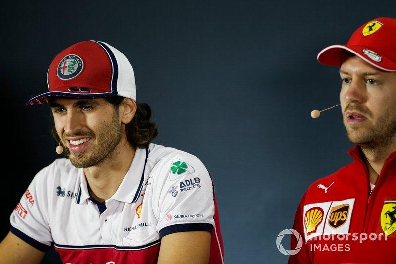 Antonio Giovinazzi, Alfa Romeo Racing and Sebastian Vettel, Ferrari in the Press Conference